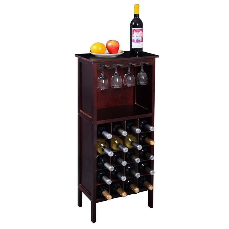 High Quality Burgundy Strong Solid Pine Wood Wine Cabinet Bottle Rack For 20 Bottles Glass Hangers Bar Cabinet HW51149