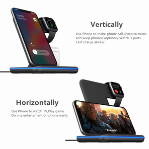 Image 4 - Universal 15W Qi Wireless Charger For iPhone 12 XR 8 Samsung Quick Charge Fast Charger Dock Stand For Apple Watch 5 4 3 Airpods