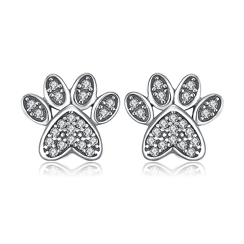 Cute Cat Paw Dog Claw White Zircon Stud Earrings For Women Wedding Jewelry Vintage Fashion Silver Color Animal Footprint Earring