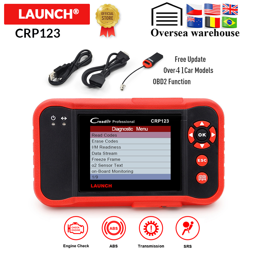 LAUNCH CRP123 Obd2 OBDII Code Reader Scanner Engine ABS Airbag Transmission Car Diagnostic Tool Multilingual Free Update Online
