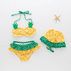 Раздельный купальник для девочек с рисунком ананаса-плавки для детей горячих источников Тур ванный комплект