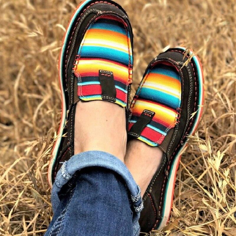 sapatos de couro retro arco-íris cor feminina