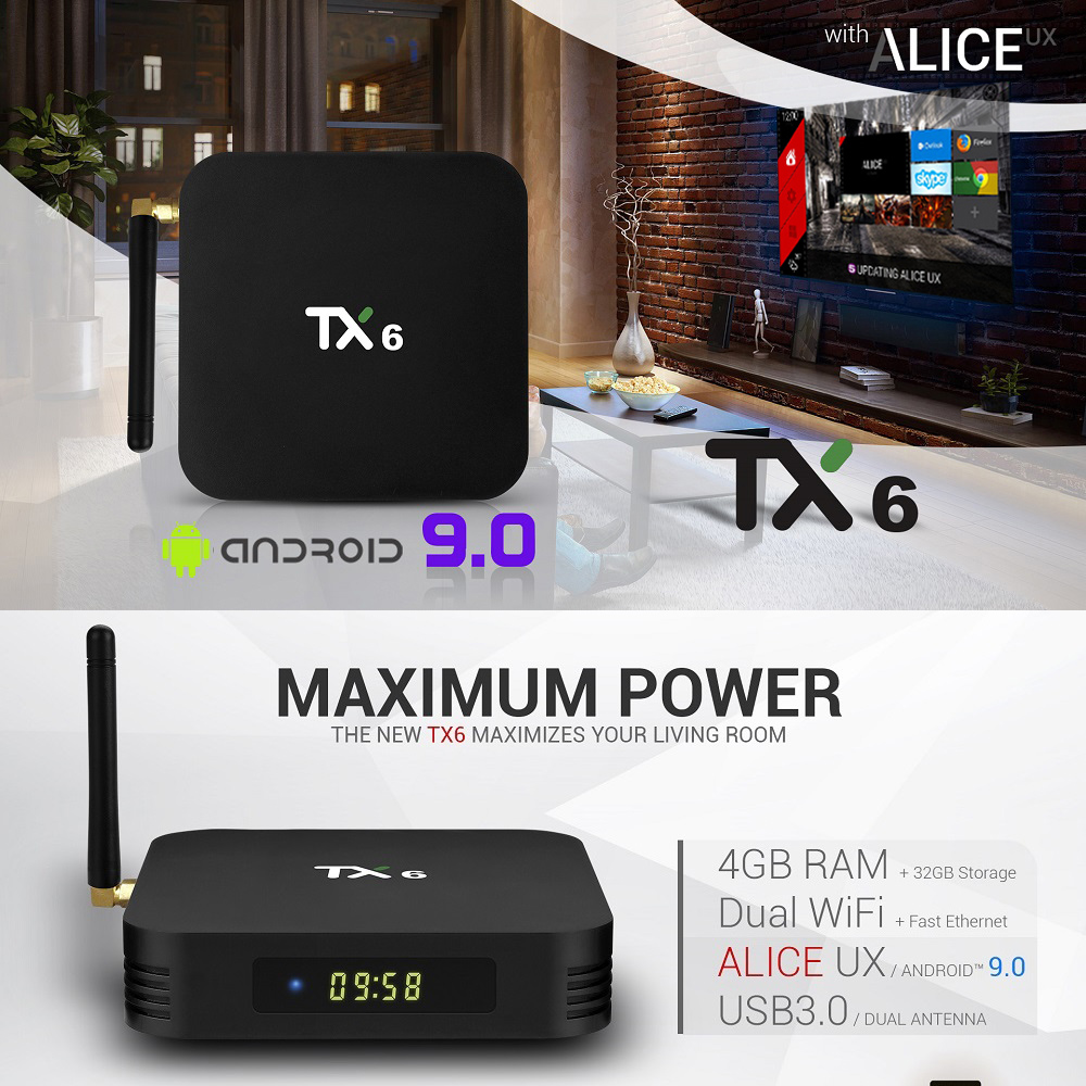 4 ГБ 32 ГБ 64 ГБ Android 9,0 ТВ коробка TX6 Smart tv Box Allwinner H6 четырехъядерный ALICE Wifi HDR 4 к комплект верхней коробки Netflix Media player