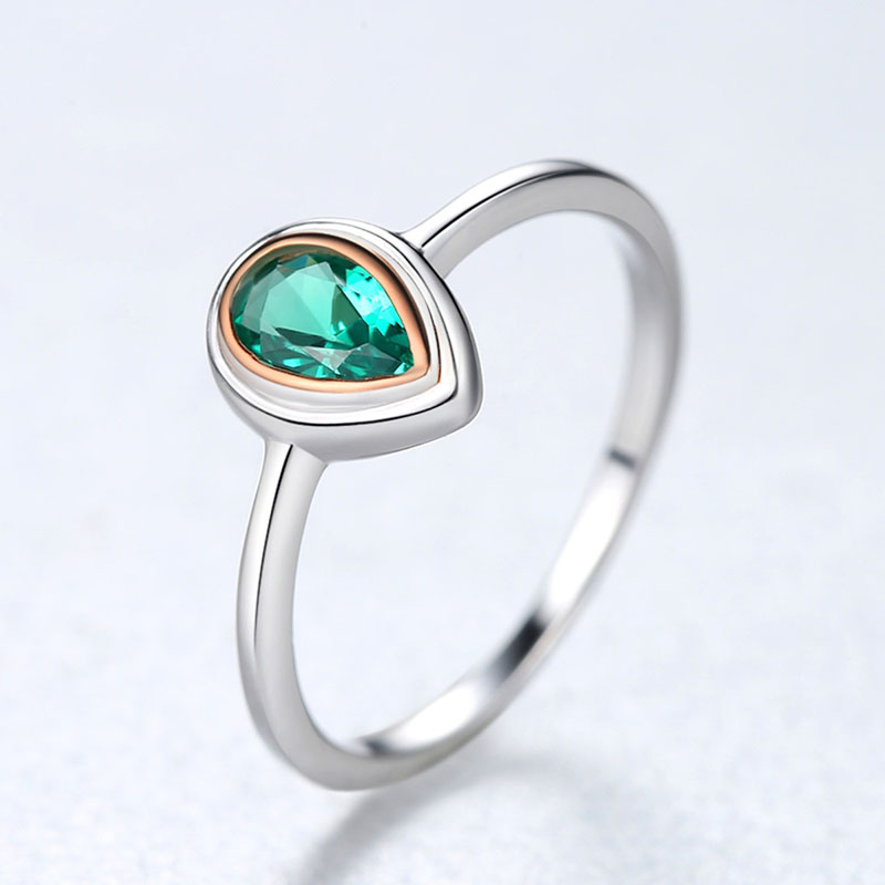 H39268234c74d4acdabd26e814889728c1 Jellystory Hot Selling Water Drop Shape Green Emerald Gemstone 925 Silver Ring for Woman Wedding Engagement Party Jewelry Rings