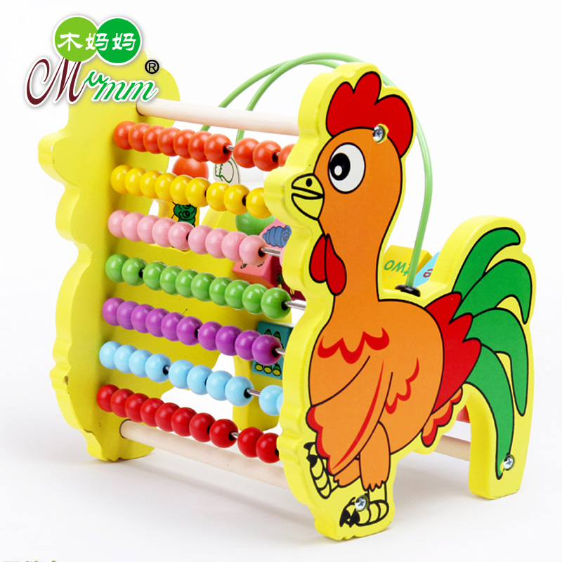 Wood Mom Wooden Toys Multi-functional Cockerel Bead-stringing Toy Calculation Frame Children'S Educational Bead Toy