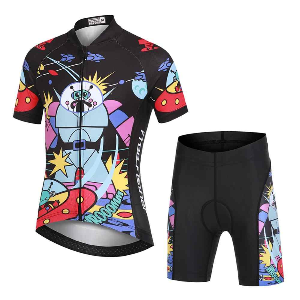 LPATTERN Kids Short Sleeve Cartoon Cycling Jersey Set//Top//Short for Boys Girls