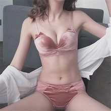 Velvet Underwear Bra Panties-Set Push-Up-Bra-Set Women Lingerie Pink Cute Sexy Lace Seamless