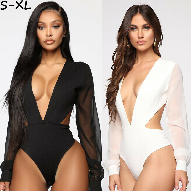 Sexy Women Summer Bandage Bodysuit Hollow Out Female Deep V Neck Hot Jumpsuit Female 2019 New Arrival Backless Clothes