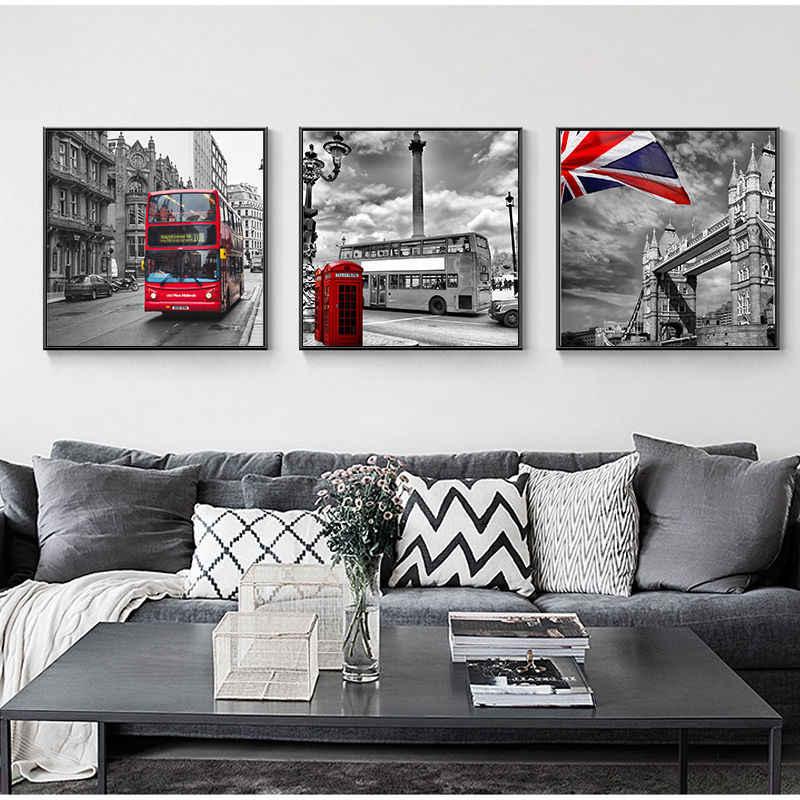 Cartel de impresión de lienzo moderno Yumeart para paisaje europeo vista de la ciudad pintura en la calle de Londres, Big Ben, bota de teléfono de autobús rojo