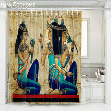 Egyptian Girls African American Shower Curtains Vintage Bathroom Decoration Waterproof Fabric Bath Curtain Large