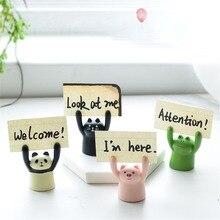 Cute Cartoon Pig Panda Cat Frog Memo Clip Card Holder Lovely Photo Stand Kawaii Cake Decorations Card Holder Desk Organizer
