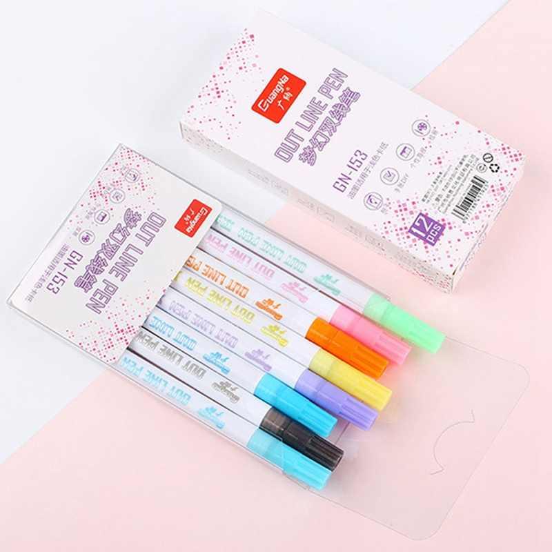 8 colori di Fantasia di Colore Fluorescente Due-linea Penna di Indicatore Fluorescente Penna di Metallo Penna di Colore di Sogno Doppia Linea di Contorno Penna