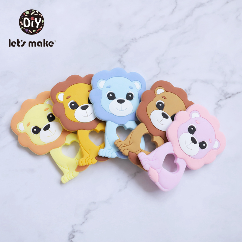 Let's Make Silicone Teether Lion Shape 1pc Newest Animals Lion Teether For Teeth DIY Teething Pacifier Clips Food Grade Tiny Rod