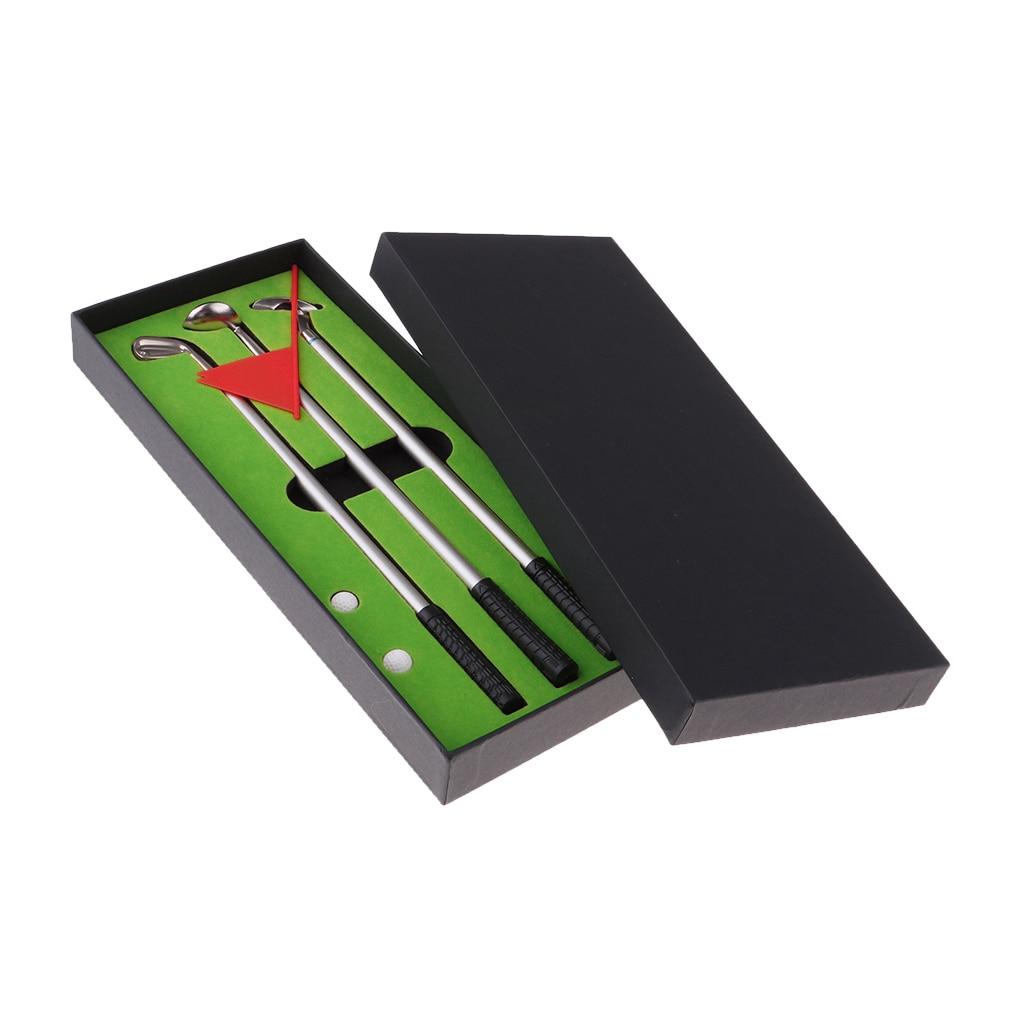 Golf Pen Set Mini Desktop Golf Ball Pen Gift Set With Putting Green Flag 2 Balls  Clubs Models Ballpoint Pens  Storage Case