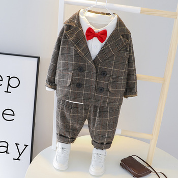 Autumn Baby Boys Clothes Sets Fashion Plaid Children Jacket T-shirt Pants 3Pcs/sets Baby Suits Infant Clothing Kids Tracksuits iyeal newest 2018 spring autumn baby girls clothes sets denim jacket tutu dress 2 pcs kids suits infant children clothing set