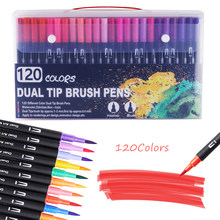 120 cores marcadores de arte pontas duplas pincel para colorir fineliner canetas de cor marcador de água caligrafia desenho desenho desenho livro para colorir