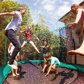 Trampoline Sprinkler-Children Outdoor Water Play Toy Park Summer Toy Trampoline Backyard Water Game Sprinkler