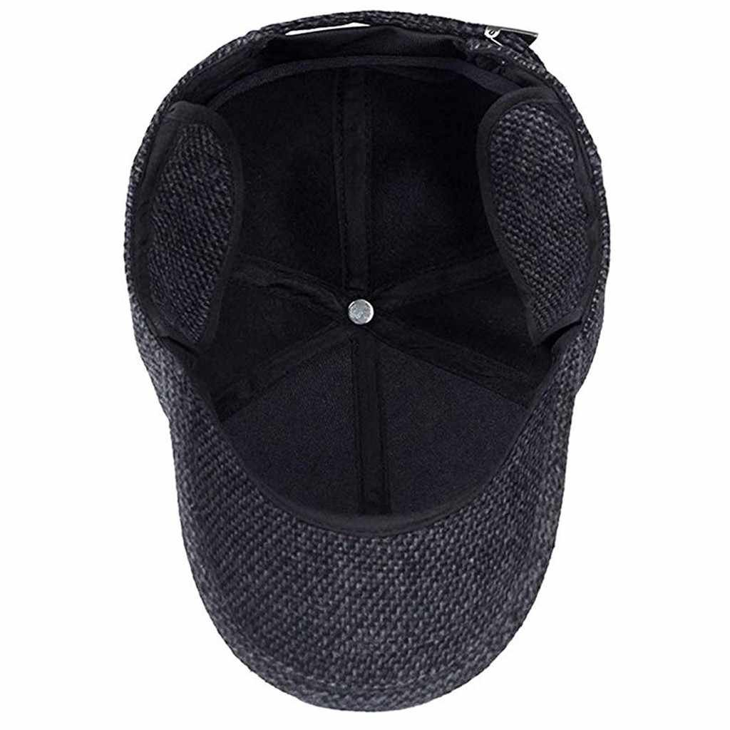 2019 ผู้ชายฤดูหนาวเบสบอลหมวกหมวกสีดำเบสบอลเบสบอลบุรุษหมวกฤดูหนาวหูวิ่งกลางแจ้งผ้าฝ้ายหมวก