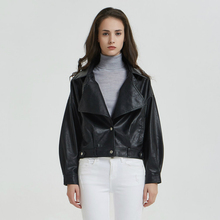 Ladies Autumn Winter Black Matte Motorcycle Zippers Coats Streetwear 2019 Modis BF Women Washed PU Faux Leather Coat Jackets