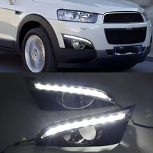 2Pcs turn Signal Relay Car styling 12V LED DRL Daytime Running Lights with fog lamp hole For Chevrolet Captiva 2011 2012 2013