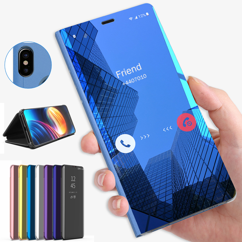 smart mirror flip case for samsung <font><b>sansung</b></font> sumung galaxy a10 a20 a20e a30 a40 <font><b>a50</b></font> a70 2019 cover gelaxi stand case coque fundas image