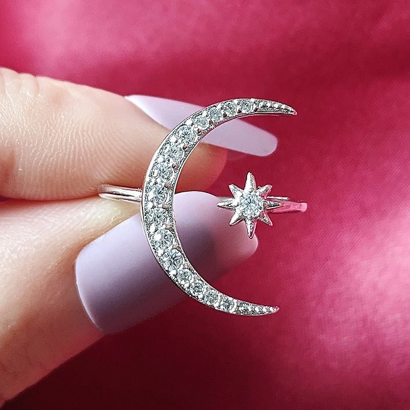 Fashion 925 Sterling Silver Ring Finger Moon Star CZ Ring For Women Jewelry Pure Wedding Engagement Sepcial Unique R4596S