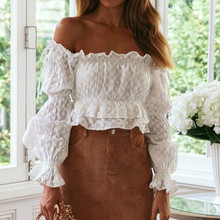 2019 sexy off shoulder white lace crop top women blouse