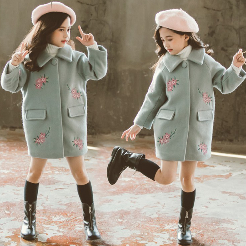 Girls Plaid Trench Coat Kids Overcoat Extra Thickness Warm Woollen Cloth Children Jacket Toddler 2019 Spring Autumn Fall Winter