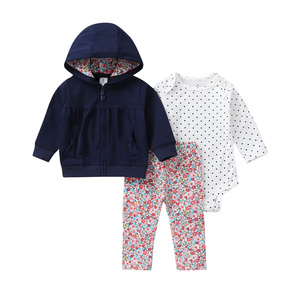 Image 4 - 女の赤ちゃん服ロングスリーブフードジャケット + 漫画ユニコーンロンパース + パンツ新生児衣装のファッション2020幼児服セット6 24m