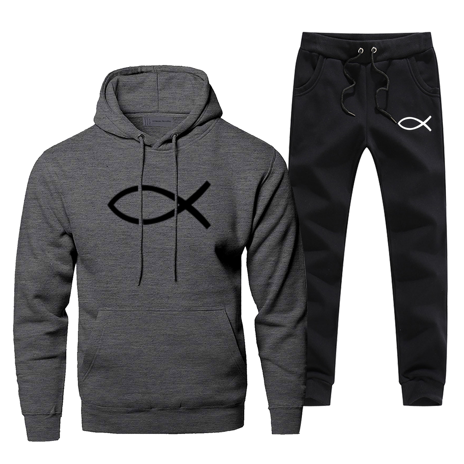 Jesus Fish Mens Hoodies Sets Two Piece Pant Cristianismo Hoodie Sweatshirt Sweatpants Streetwear Sportswear Belief Sweatshirts