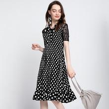 цена на Plus Size Dress Chiffon Women's Summer Polka Dot Printed Bow Collar Short Sleeves Elastic Miyake Pleated Dress Knee Length