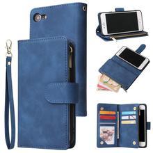 Wallet Case for iPhone SE 2020 Premium Vintage Leather Zipper Kickstand Wrist Strap Flip Cover for iPhone 7 8 6 6S 7Plus Coque