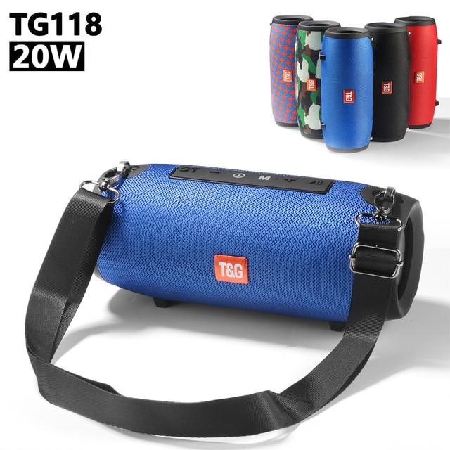 20W High-power Portable Speakers TG125 Outdoor Waterproof Battle Drum Wireless Speaker FM Radio loudspeaker USB Port AUX Input
