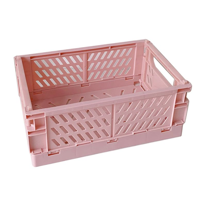 B2RC Collapsible Crate Plastic Folding Storage Box Basket Utility Cosmetic Container Desktop Holder