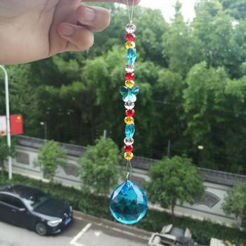DIY kryształy zawieszki do żyrandoli szkło kolorowe kryształy koraliki Ball pryzmaty wiszący Ornament Suncatcher ślubny wystrój domu tanie i dobre opinie 170mm X617