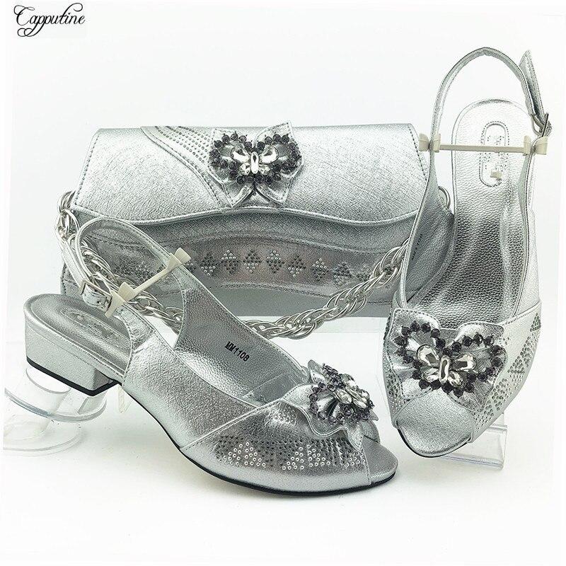 Silver Party Shoes Bag Set African Women's Medium Heel Sandals With Handbag MM1108 Heel Height 3.8CM