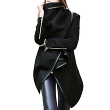 Woman Jackets Winter 2019 Feminine Coat Warm Irregular Bow Zippers Sleeve Long W