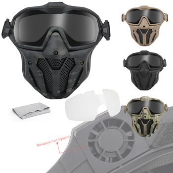 airsoft paintball mask safety protective anti fog goggle full face mask with black yellow clean lens tactical shooting equipment Tactical Airsoft Paintball Masks Detachable Goggle With Anti-Fog Fan System Protective Equipment BB Gun Shooting Hunting Mask