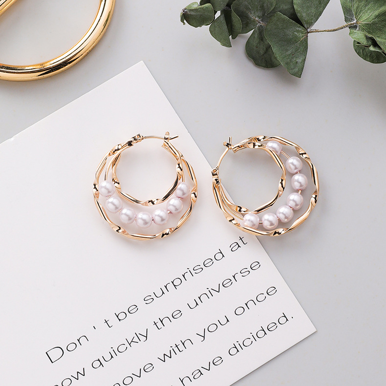 H39287fa2362c45f08d3abefde34eb11dB - Fashion Simulated Pearl Statement Big Small Hoop Earrings for Women Exaggerate Circle Earrings Personality Nightclub Jewelry