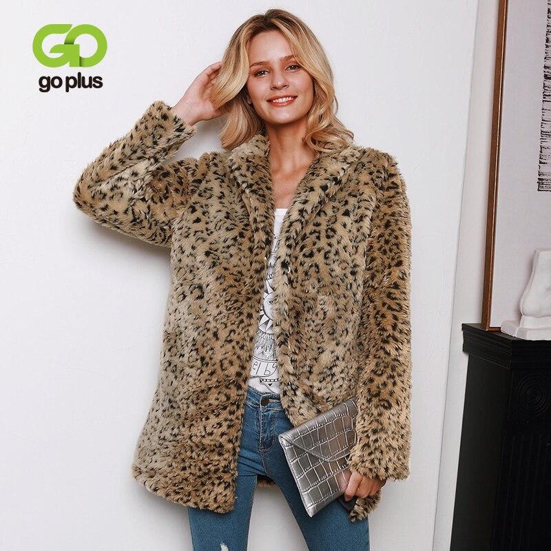 GOPLUS Sexy Leopard Faux Fur Coat Thick Warm Long Women's Down Jacket Streetwear 2019 Winter Elegant Teddy Coat Manteau Femme