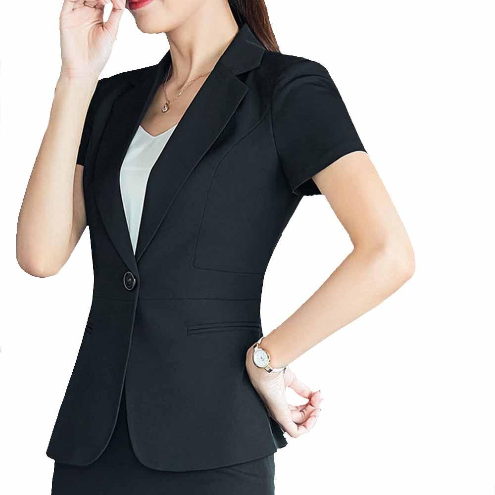 2017 New Slim Sumer Women Short Sleeve Formal Blazer Work Office Lady Business Outwear Tops Casual Coat Navy Career Blue Jacket