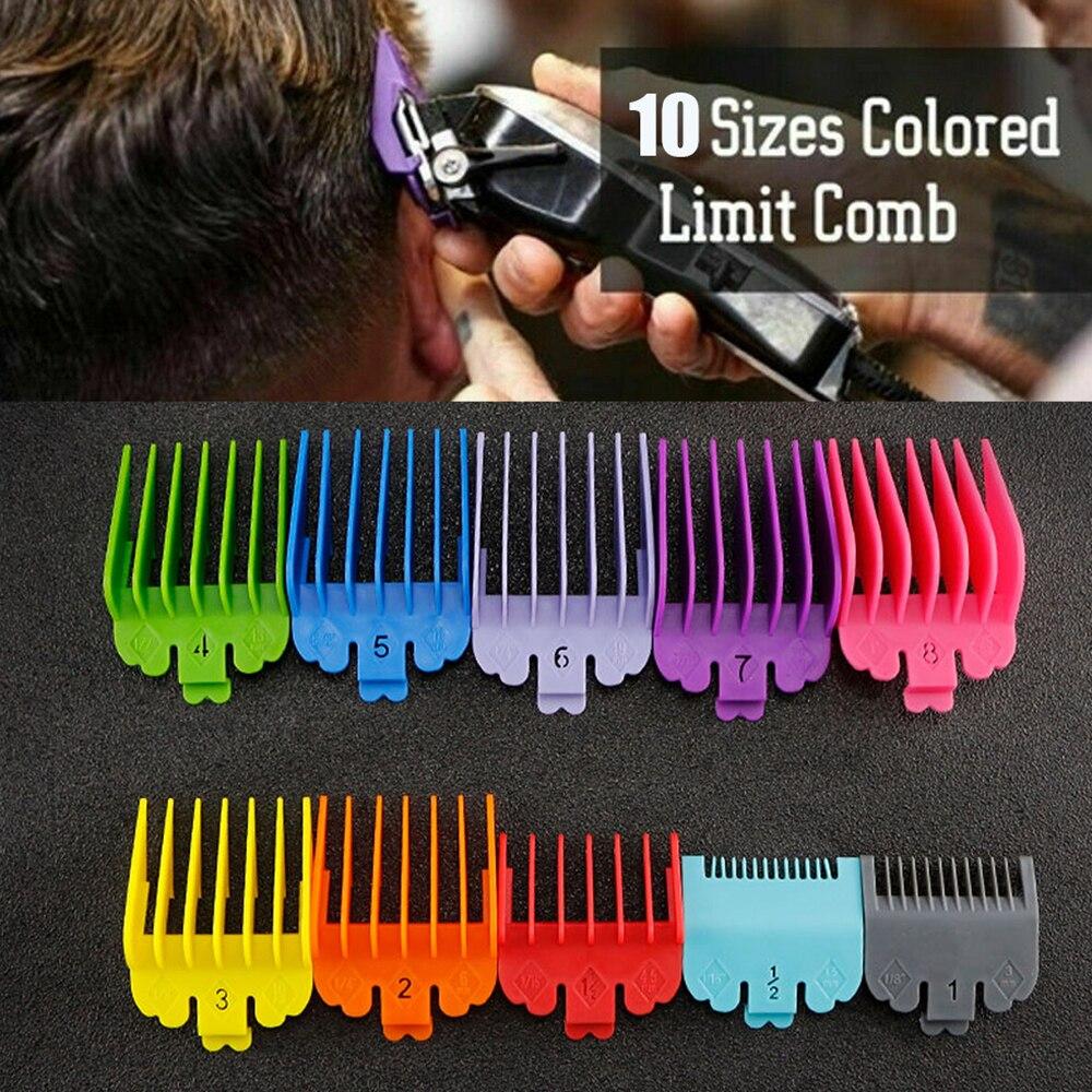 Новинка, 10 шт./компл., машинка для стрижки волос, расчески, направляющий набор, многоцветная пластиковая машинка для стрижки волос, защита дл...