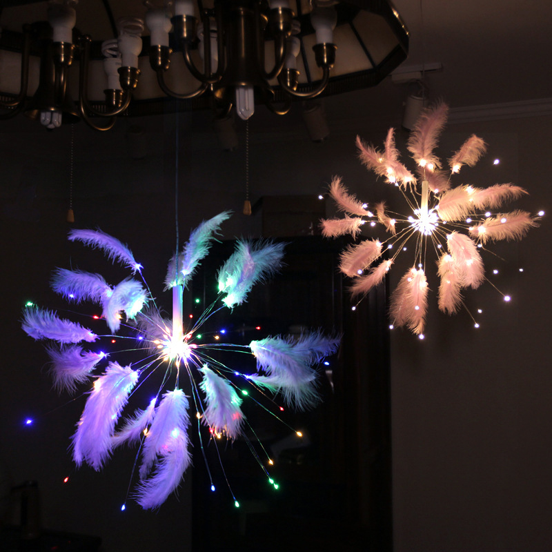 YINUO CANDLE Feather Fireworks Fairy Light Copper Wire Led String Light Remote Control Led Garland for Wedding Party Decoration in LED String from Lights Lighting