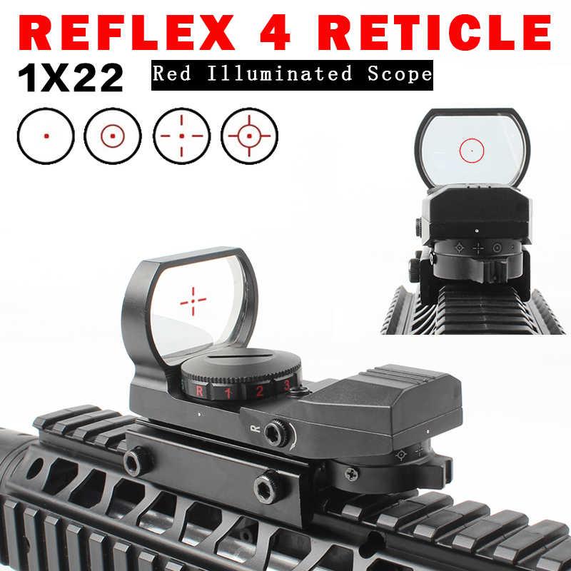 ¡Producto en oferta! ¡nueva calidad! Rifloscopio de 20mm, óptica de caza, punto rojo holográfico, reflejo de la vista, mira Táctica de 4 retículas, visor colimador