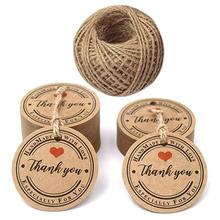 Custom clothing price Tags,100PCSThank You Gift Tag,3CM Kraft Paper Hang Labels,Christmas kraft Tags with 65 Feet Jute Twine