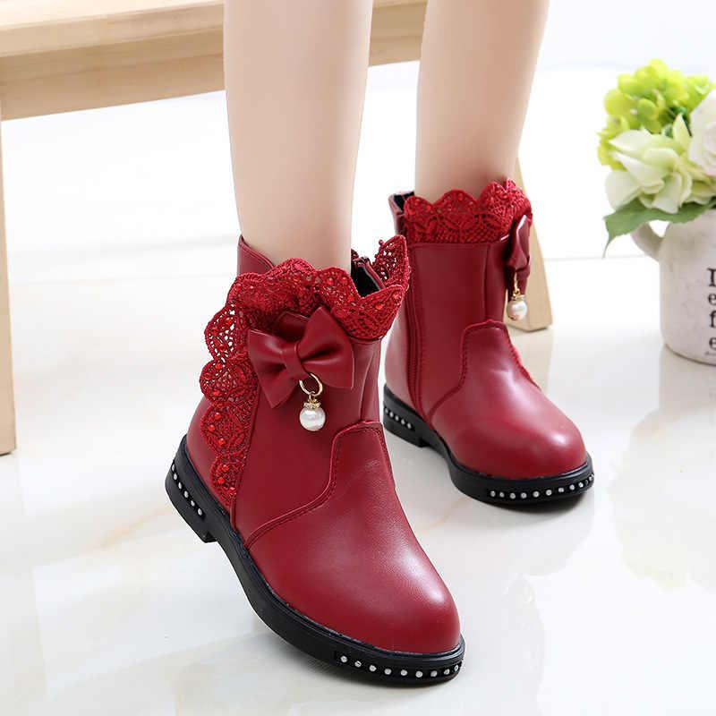 โบว์ลูกไม้เด็กข้อเท้ารองเท้าสำหรับสาวใหญ่แฟชั่นฤดูหนาวรองเท้าบูท Snow Boots เด็กเจ้าหญิงรองเท้าลื่น 4 5 6 7 8 9 10 11 12 ปี