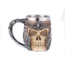 Stainless Steel skull Cup Coffee  Halloween Skull Teacup 3D Shaped Bar Drinkware Gift