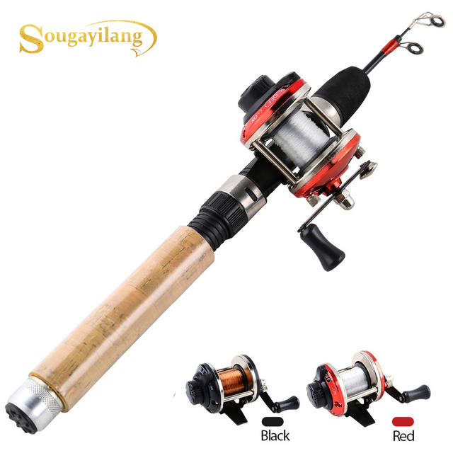 Sougayilang Ice Fishing Rod Reel Combo 67cm Carbon Ice Rod with Mini 2 Color Trolling Reel  Shrimp Winter Fishing Tackle Set