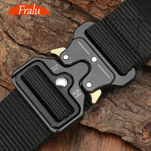 125-140long big size Belt Male Tactical military Canvas Belt Outdoor Tactical Belt men #8217 s Military Nylon Belts Army ceinture hom cheap FRALU Adult Knitted CN(Origin) 3 8cm Casual striped YD399