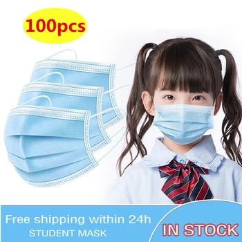 100PCS Children Face Masks 3 Layer Elastic Mouth Mask Kids Disposable Mask Soft Breathable Mondkapje Nonwoven Blue Boys Girls
